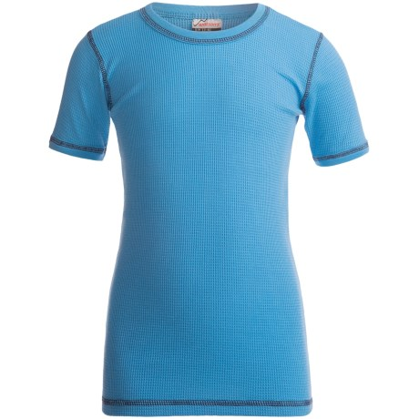 Watson's Thermal Waffle Base Layer Top - Short Sleeve (For Boys) in Blue