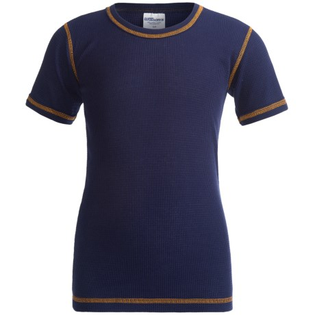 Watson's Thermal Waffle Base Layer Top - Short Sleeve (For Boys) in Navy