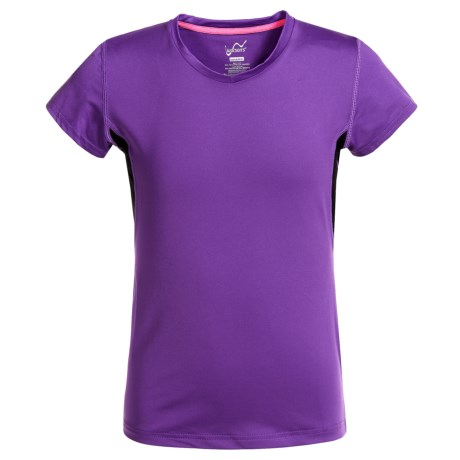 Watson's Watson's V-Neck T-Shirt - Compression Stretch Nylon, Short Sleeve (For Girls) in Violet