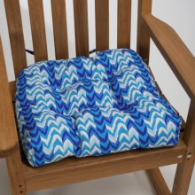 Waverly Indoor/Outdoor UV-Treated Chair Cushion in Ikat Blue - Closeouts