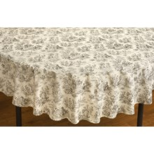 "Waverly Rustic Life Round Cotton Tablecloth - 60"" in Onyx - Closeouts"