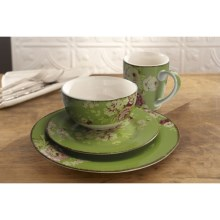 Waverly Tea Dance Porcelain Dinnerware Set - 16-Piece in Celery - Closeouts