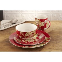 Waverly Tea Dance Porcelain Dinnerware Set - 16-Piece in Paprika - Closeouts