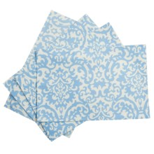 Waverly UV-Treated Water-Repellent Placemats - Set of 4 in Ikat Blue Damask - Closeouts