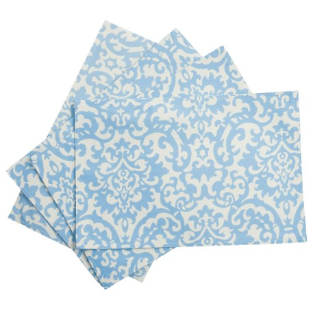 Waverly UV-Treated Water-Repellent Placemats - Set of 4 in Ikat Blue Damask
