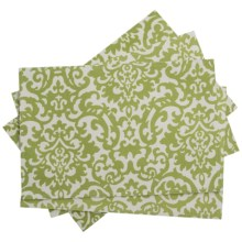 Waverly UV-Treated Water-Repellent Placemats - Set of 4 in Lime Damask - Closeouts