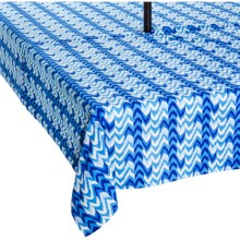 "Waverly UV-Treated Water-Repellent Tablecloth - 60x84"" in Ikat Blue - Closeouts"