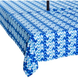 "Waverly UV-Treated Water-Repellent Tablecloth - 60x84"" in Ikat Blue"