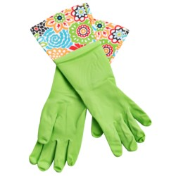 Waverly Washable Soft Fashion Cleaning Gloves - Rubber in Bright Green Garden