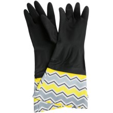 Waverly Washable Soft Fashion Cleaning Gloves - Rubber in Chantal Ivory Black - Closeouts