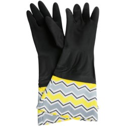 Waverly Washable Soft Fashion Cleaning Gloves - Rubber in Chantal Ivory Black