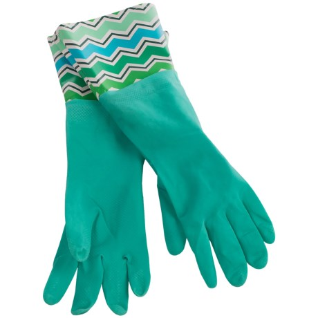 Waverly Washable Soft Fashion Cleaning Gloves - Rubber in Cutting Edge Turquoise