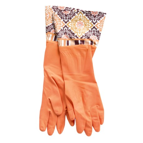 Waverly Washable Soft Fashion Cleaning Gloves - Rubber in Dressed Up Aran Harvest