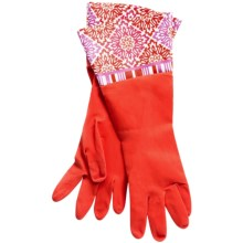 Waverly Washable Soft Fashion Cleaning Gloves - Rubber in Dressed Up Aran Red - Closeouts