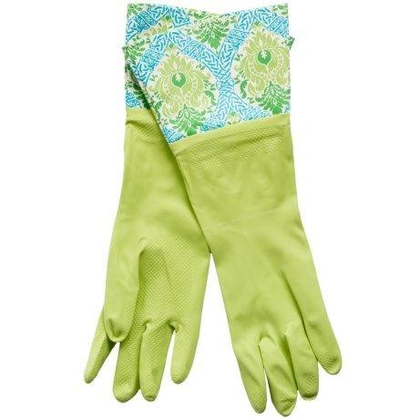Waverly Washable Soft Fashion Cleaning Gloves - Rubber in Dressed Up Damask Kiwi