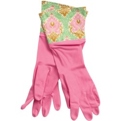 Waverly Washable Soft Fashion Cleaning Gloves - Rubber in Dressed Up Damask Pink
