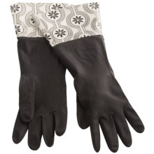 Waverly Washable Soft Fashion Cleaning Gloves - Rubber in Duncan Black & White - Closeouts