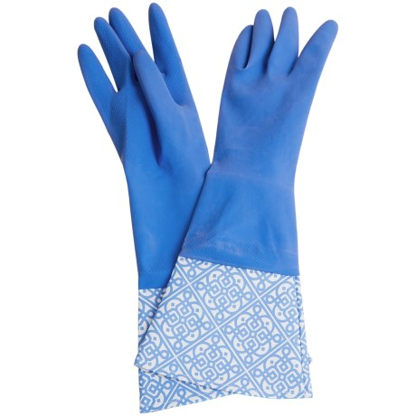 Waverly Washable Soft Fashion Cleaning Gloves - Rubber in Kaleidescope Blue