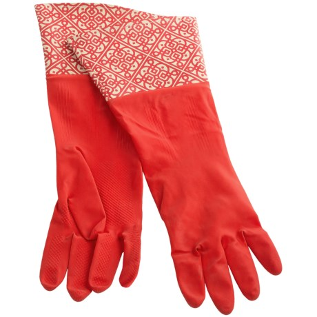 Waverly Washable Soft Fashion Cleaning Gloves - Rubber in Kaleidescope Tiger Lily