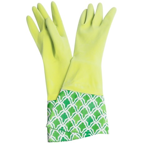 Waverly Washable Soft Fashion Cleaning Gloves - Rubber in Lace It Up Kiwi