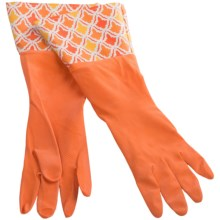 Waverly Washable Soft Fashion Cleaning Gloves - Rubber in Lace It Up Red - Closeouts