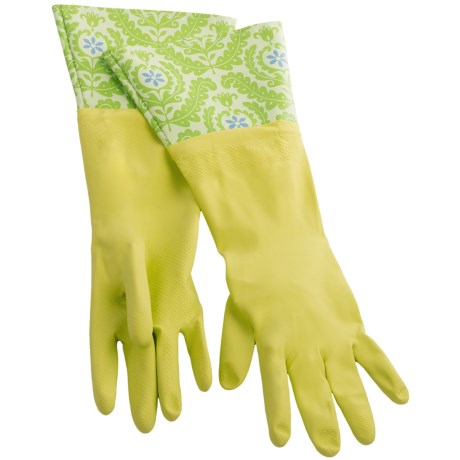 Waverly Washable Soft Fashion Cleaning Gloves - Rubber in On Display Kiwi
