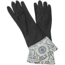Waverly Washable Soft Fashion Cleaning Gloves - Rubber in Paisley Prism Black