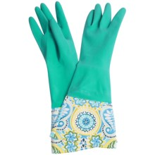 Waverly Washable Soft Fashion Cleaning Gloves - Rubber in Paisley Prism Turquoise - Closeouts