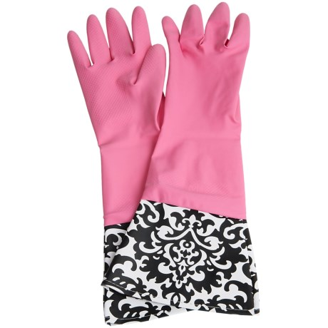 Waverly Washable Soft Fashion Cleaning Gloves - Rubber in Pink