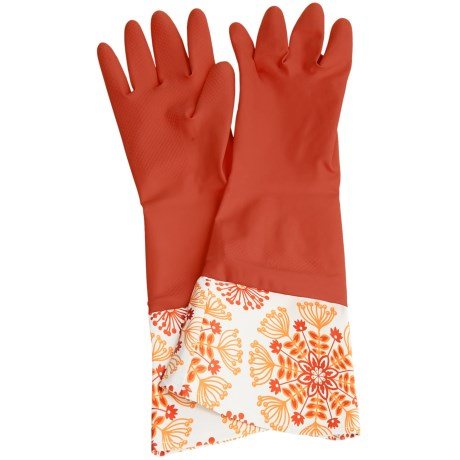 Waverly Washable Soft Fashion Cleaning Gloves - Rubber in Set In Spring Red
