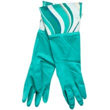 Waverly Washable Soft Fashion Cleaning Gloves - Rubber in Sonic Wave Turquoise - Closeouts