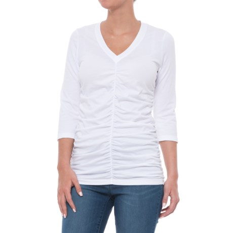 Wearables by XCVI V-Neck Ruched T-Shirt - 3/4 Sleeve (For Women) in White