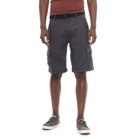 Wearfirst Freeband Stretch Belted Cargo Shorts (For Men) in Grey Ebony