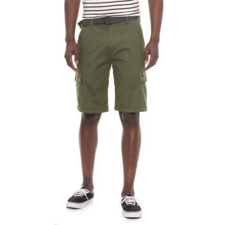 Wearfirst Freeband Stretch Belted Cargo Shorts (For Men) in Lichen Green - Overstock
