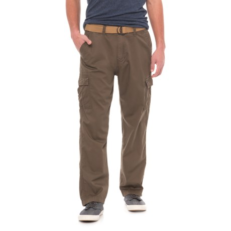 Wearfirst Pin Faille Belted Cargo Pants (For Men) in Mushroom