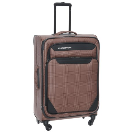"""Weatherproof 21"""" Holloway Expandable Spinner Carry-On Suitcase in Tan Plaid"""