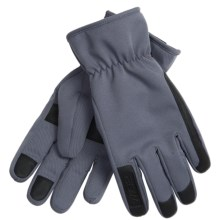 Weatherproof 32 Degrees Soft Shell Gloves - Leather Trim (For Men) in Grey - Closeouts