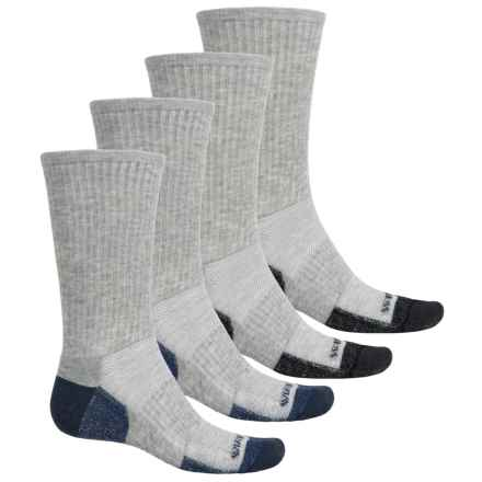 Weatherproof All-Purpose Outdoor Socks - 4-Pack, Crew (For Men) in Grey/Grey - Closeouts