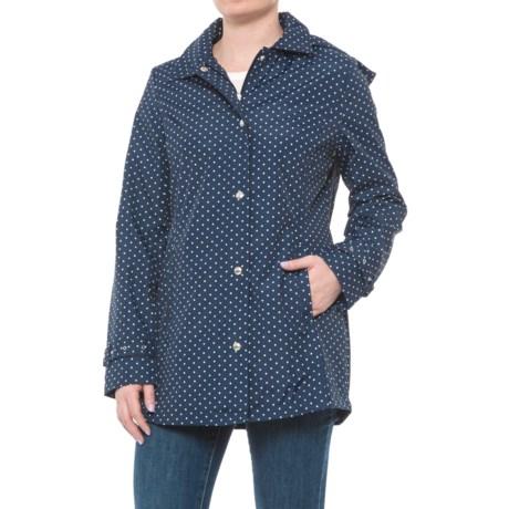 Weatherproof Bonded Topper Jacket - Snap Placket (For Women) in Ink/White Polka Dots