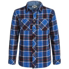 Weatherproof Brushed Flannel Shirt - Long Sleeve (For Big Boys) in Dark Blue/Navy - Closeouts