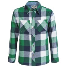 Weatherproof Brushed Flannel Shirt - Long Sleeve (For Big Boys) in Green/Blue - Closeouts