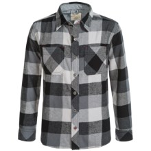 Weatherproof Brushed Flannel Shirt - Long Sleeve (For Big Boys) in Grey/Black - Closeouts
