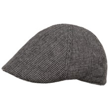 Weatherproof Check Driving Cap - Wool Blend, Quilted Lining (For Men) in Black Charcoal Check - Closeouts