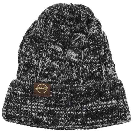 Weatherproof Chunky Cable Tweed Beanie (For Men and Women) in Black/Silver - Closeouts