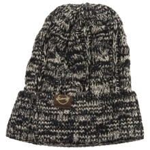 Weatherproof Chunky Cable Tweed Beanie (For Men and Women) in Black/Tan - Closeouts