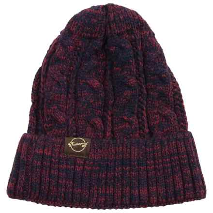 Weatherproof Chunky Cable Tweed Beanie (For Men and Women) in Navy/Burgandy - Closeouts
