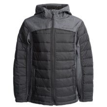 Weatherproof Color-Block Soft Shell Bubble Jacket (For Little and Big Boys) in Black Johnny Plaid - Closeouts