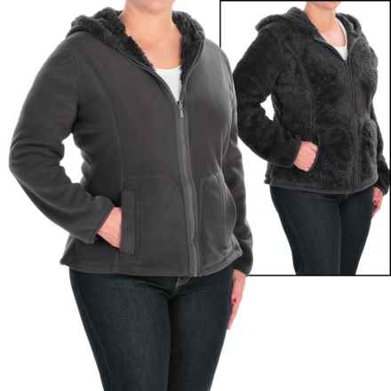 Weatherproof Cozy Bonded Fleece Jacket - Reversible (For Plus Size Women) in Black - Closeouts
