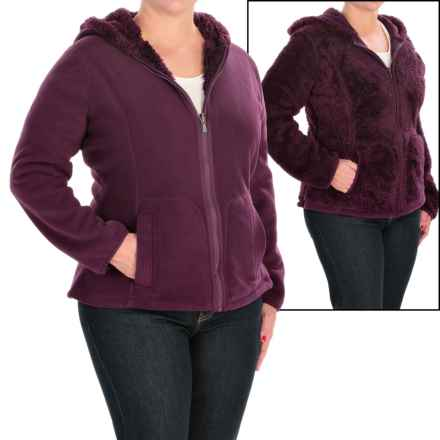 Weatherproof Cozy Bonded Fleece Jacket - Reversible (For Plus Size Women) in Plum - Closeouts