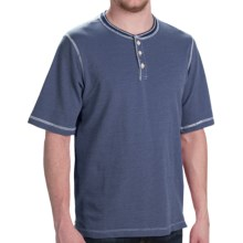 Weatherproof Dobby Henley Shirt - Short Sleeve (For Men) in Navy - Closeouts